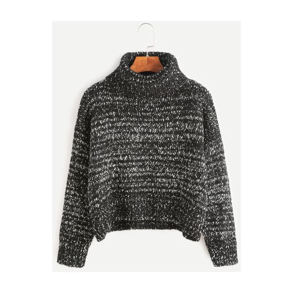 799d2ea4ba8410 SheIn(sheinside) Turtleneck Drop Shoulder Crop Cable Knit Sweater ( 24) ❤  liked on Polyvore featuring tops