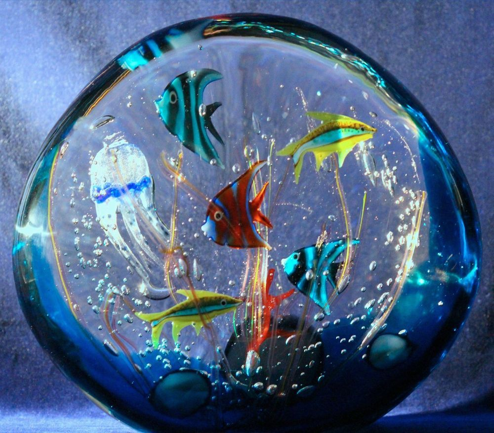 magnificent large murano glass fish aquarium sculpture by. Black Bedroom Furniture Sets. Home Design Ideas