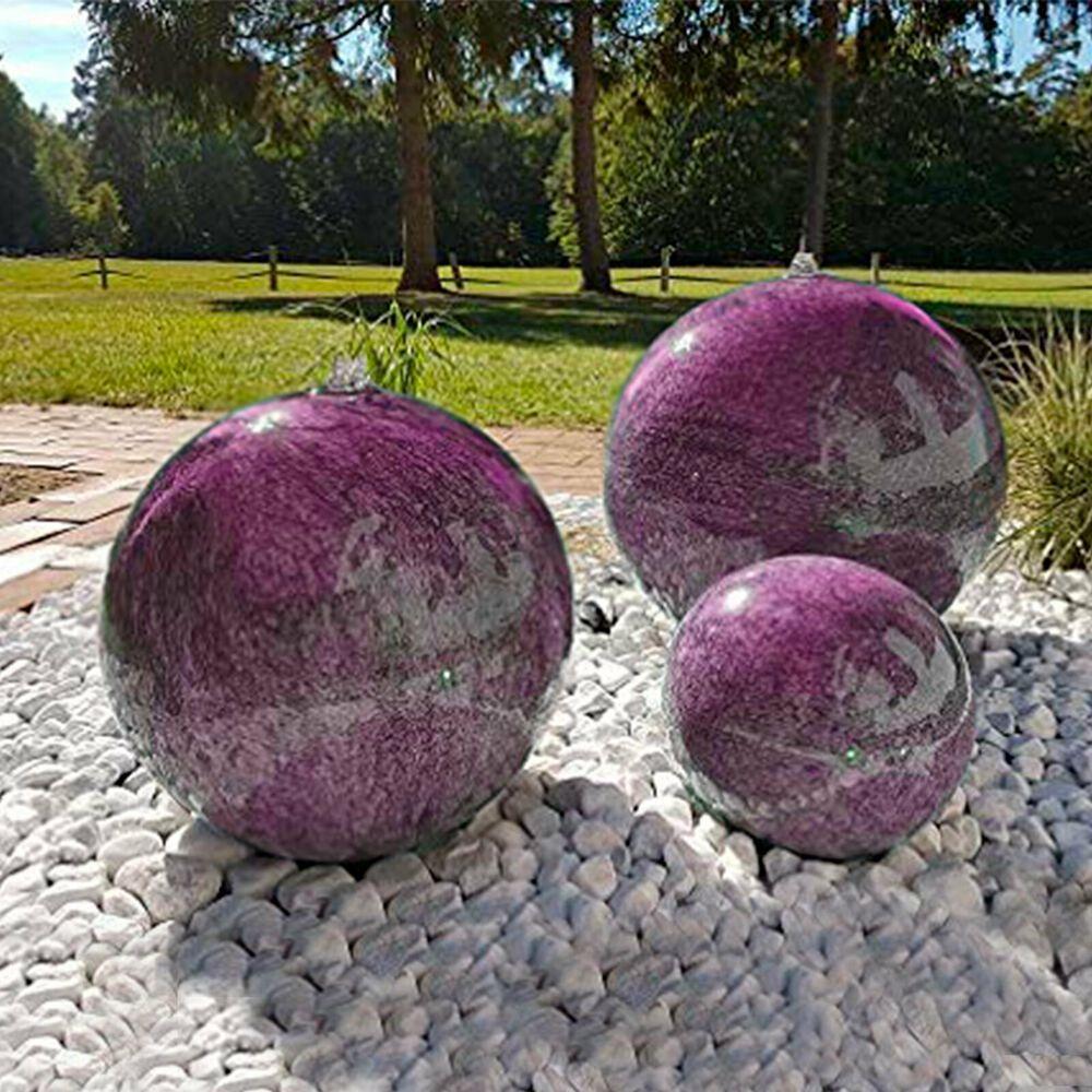 Brunnenkugel Edelstahl Brunnen Mit Marmorlackierung In Violett Inkl Pumpe Led Brunnen Kugel Edelstahl