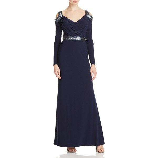Mignon Mignon Beaded Cold Shoulder Gown ($420) ❤ liked on Polyvore featuring dresses, gowns, navy, beaded gown, navy blue gown, navy gown, beaded dress and rhinestone dress
