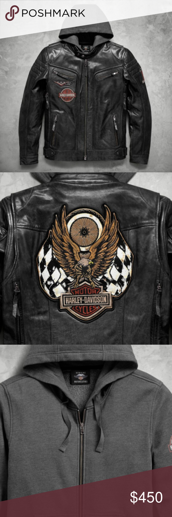 Harley Davidson Mens Marmax Racing Eagle 3 In 1 Harley Davidson Mens Marmax Racing Eagle 3 In 1 Black Leather Jac Leather Jacket Harley Davidson Jacket Leather [ 1740 x 580 Pixel ]