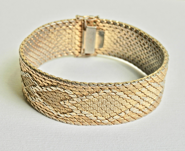 18k Gold Bracelet Fill Italian Chevron Pattern Woven Mesh Retro Yellow Vintage Jewelry By Thejewelrychain On Etsy