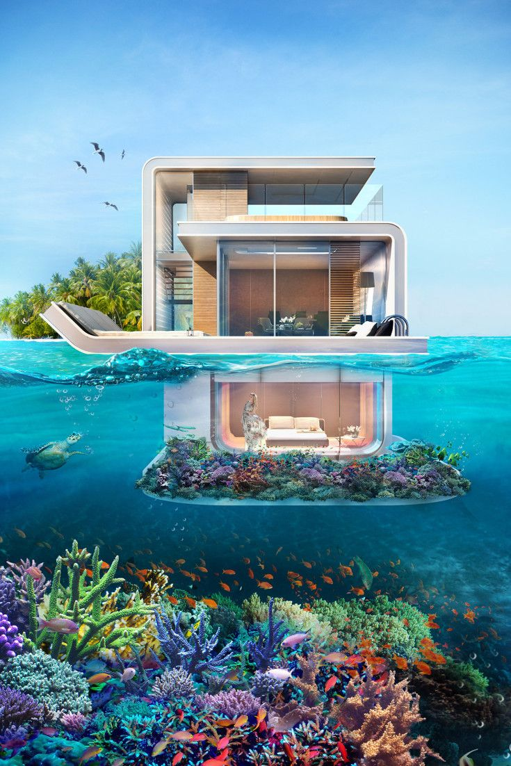 Insane Floating Seahorse Homes Are Partially Submerged Totally Futuristic Underwater Bedroom Underwater Room Floating House