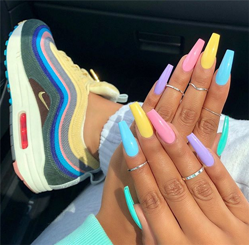 50 Acrylic Coffin Nails Designs In Summer Acrylic Coffin Designs Nails Summer Cute Acrylic Nail Designs Best Acrylic Nails Coffin Nails Designs