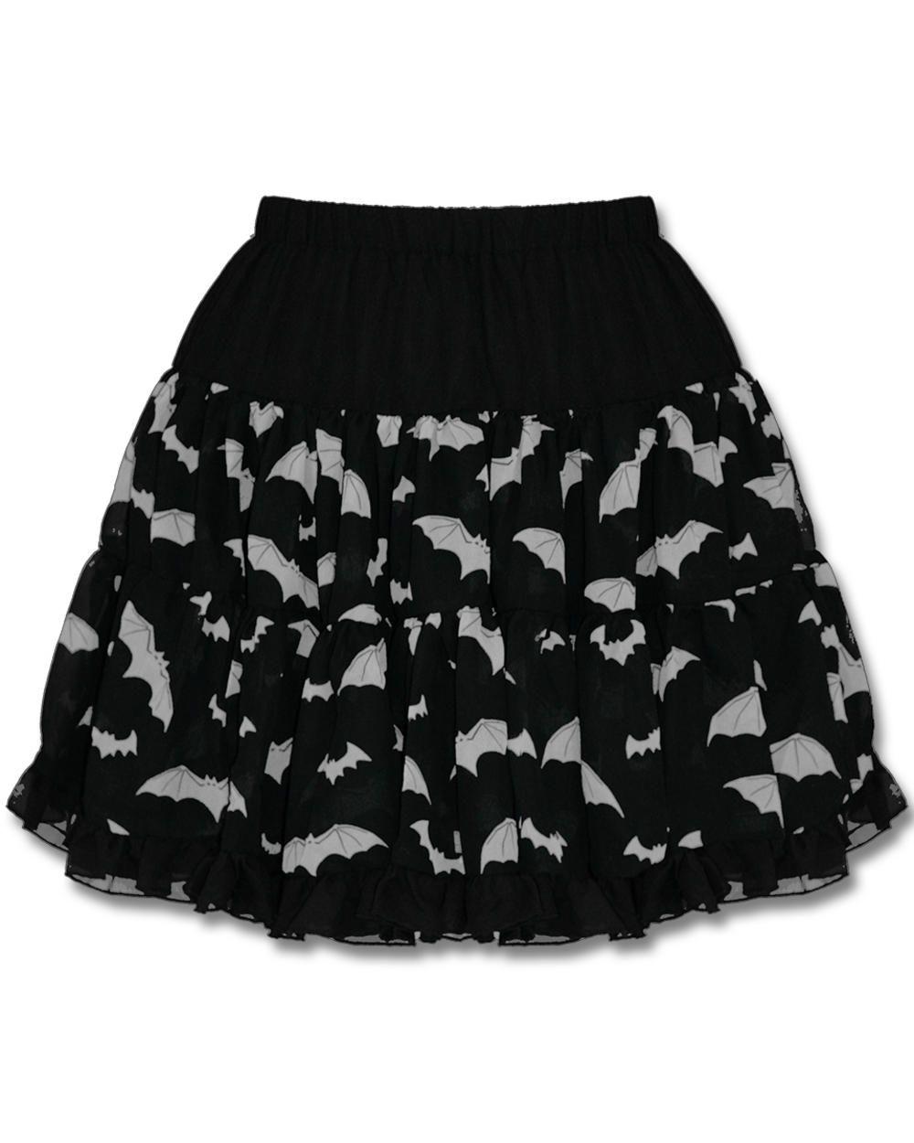 HELL BUNNY BAT SKIRT - BLACK & WHITE | Clothes: Dresses/Skirts ...