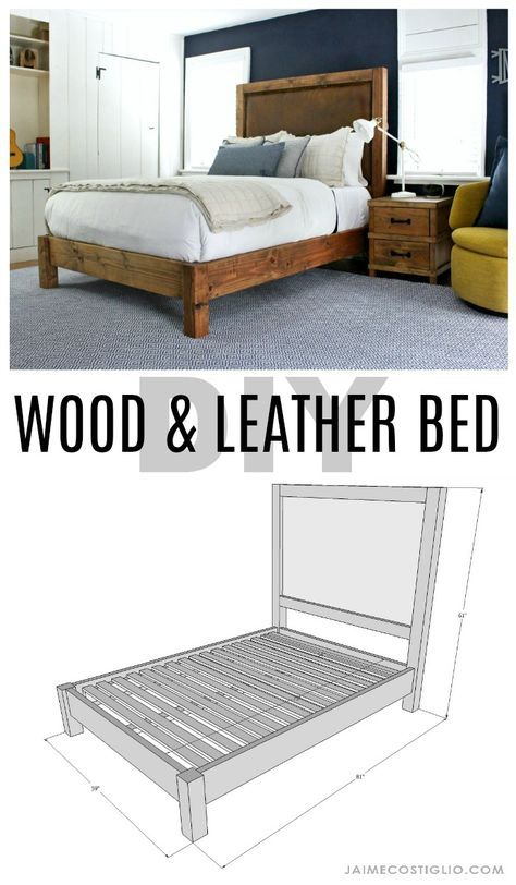 Wood & Leather Bed Free Plans | Pinterest | Diy wood, Woods and ...
