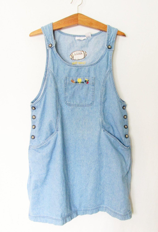 Vintage 1990s Green Bay Packers Overall Denim Dress By Freshtodeathvintage On Etsy Denim Dress