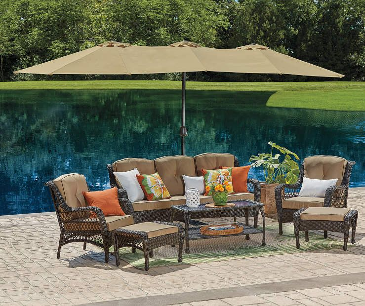 Tan Double Top Market Patio Umbrella With Base 15 At Big Lots