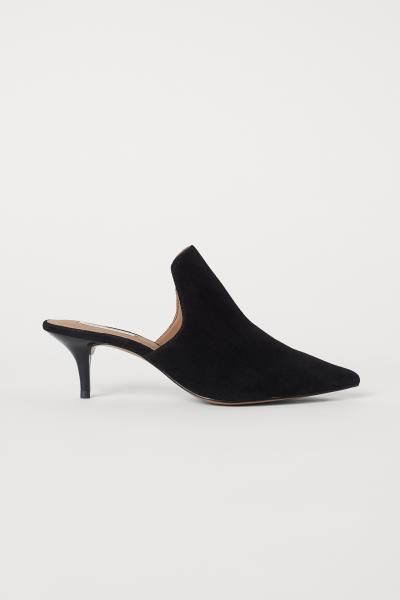 b7ceb46b15 H&M Suede Mules - Black in 2019 | New style | Shoes, Stylish shoes ...