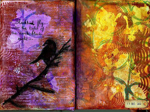 Blackbird - Copyright © lerusho 2009-2013  Background: gelli printed  Bird and text: threshold image transfer, black pastel, black marker  Dandelions: modeling paste, dylusion ink
