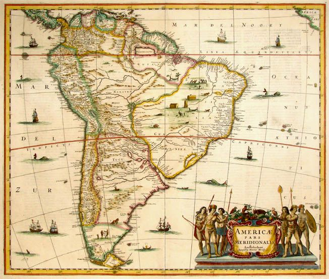 Antique Map Of South America By Janssonius 1636 \u2026 Pinteres\u2026: Old Maps Of America At Codeve.org