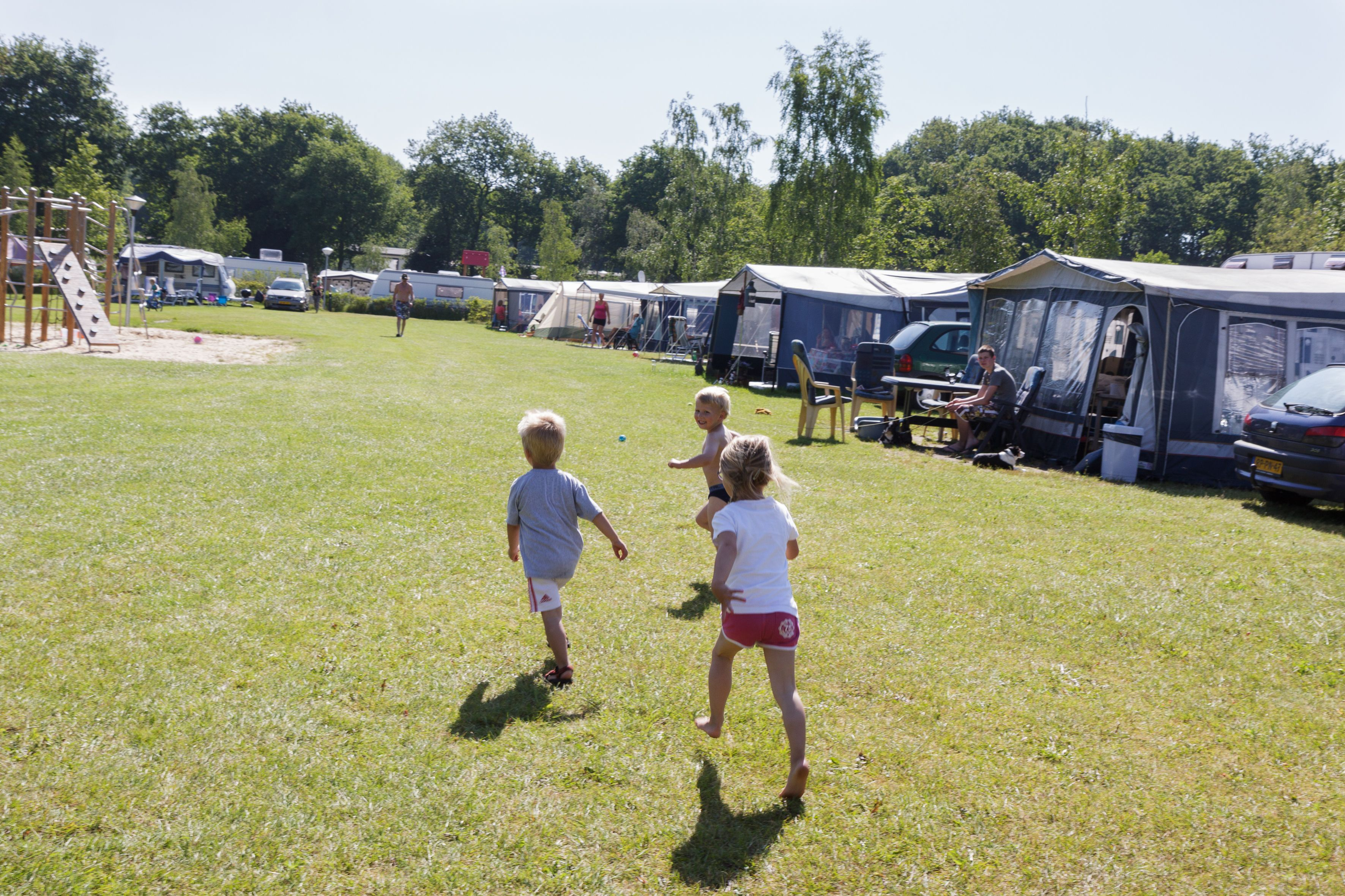 Standaard kampeerplaats. De ruime standaard kampeerplaatsen zijn voorzien van alle gemakken.  https://www.devossenburcht.nl/familiecamping/standaard-kampeerplaats/
