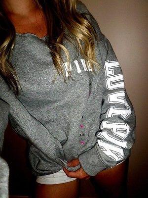 0de9758162582 Details about Victoria's Secret PINK Campus Crew Sweatshirt Fleece ...