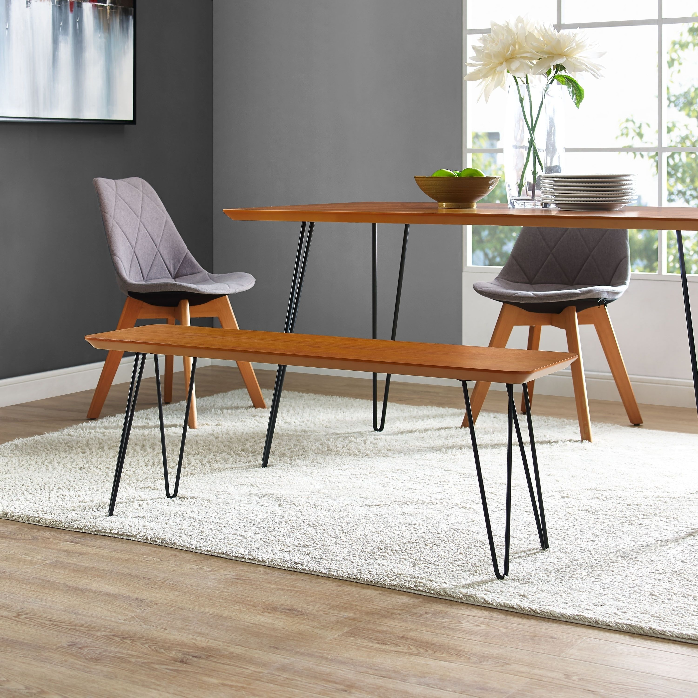 Admirable Walnut Finish Wood Veneer Metal 56 Inch Hairpin Dining Bench Ibusinesslaw Wood Chair Design Ideas Ibusinesslaworg
