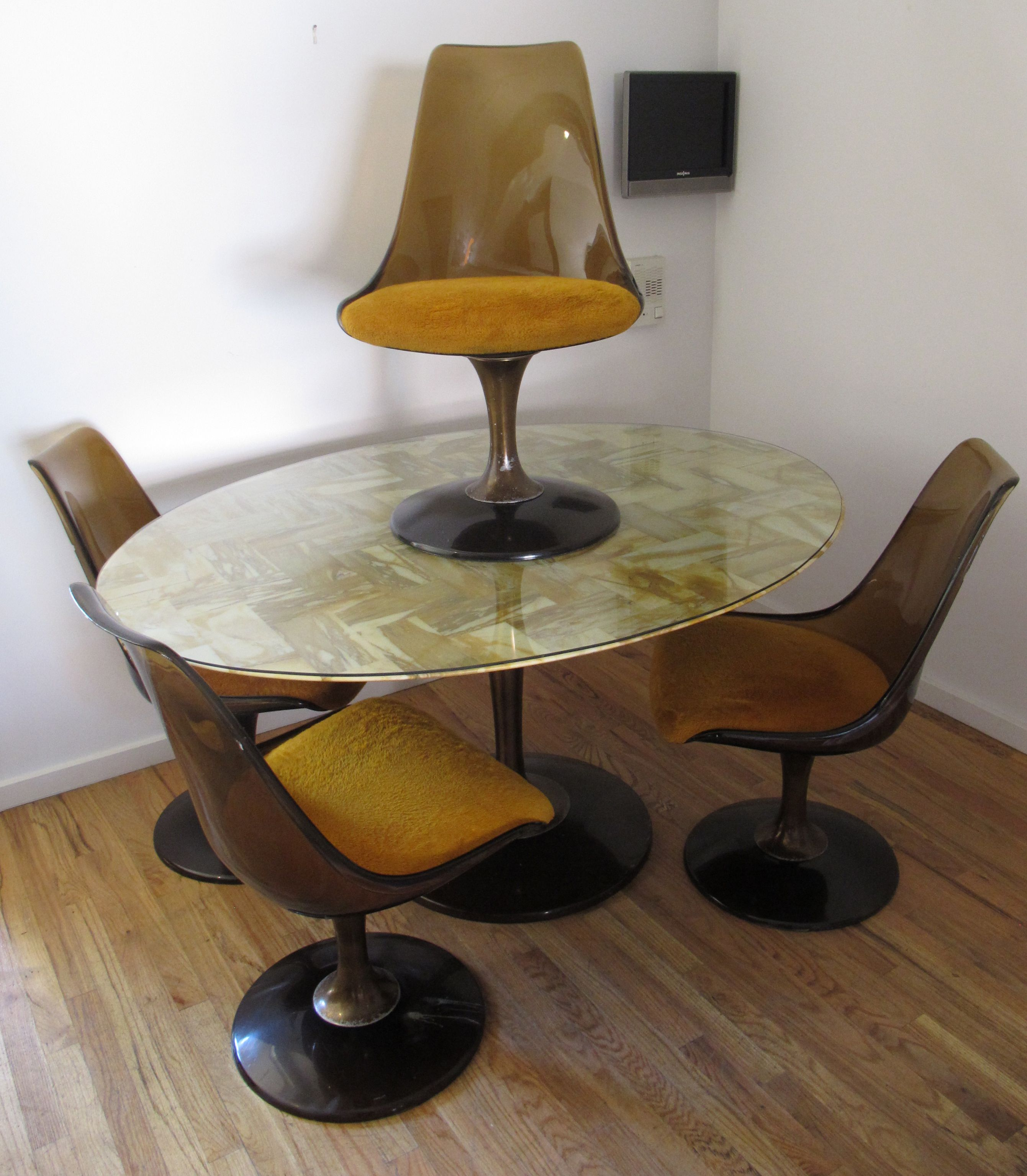 MID CENTURY CHROMCRAFT MARQUISE OVAL DINING TABLE & FOUR CHAIRS SET ...