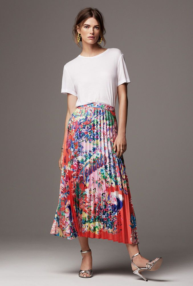 2383864b4c H&M SS17 Trend Pleated Satin Coral Red Floral Tropical Print Midi Skirt UK  10 12   eBay