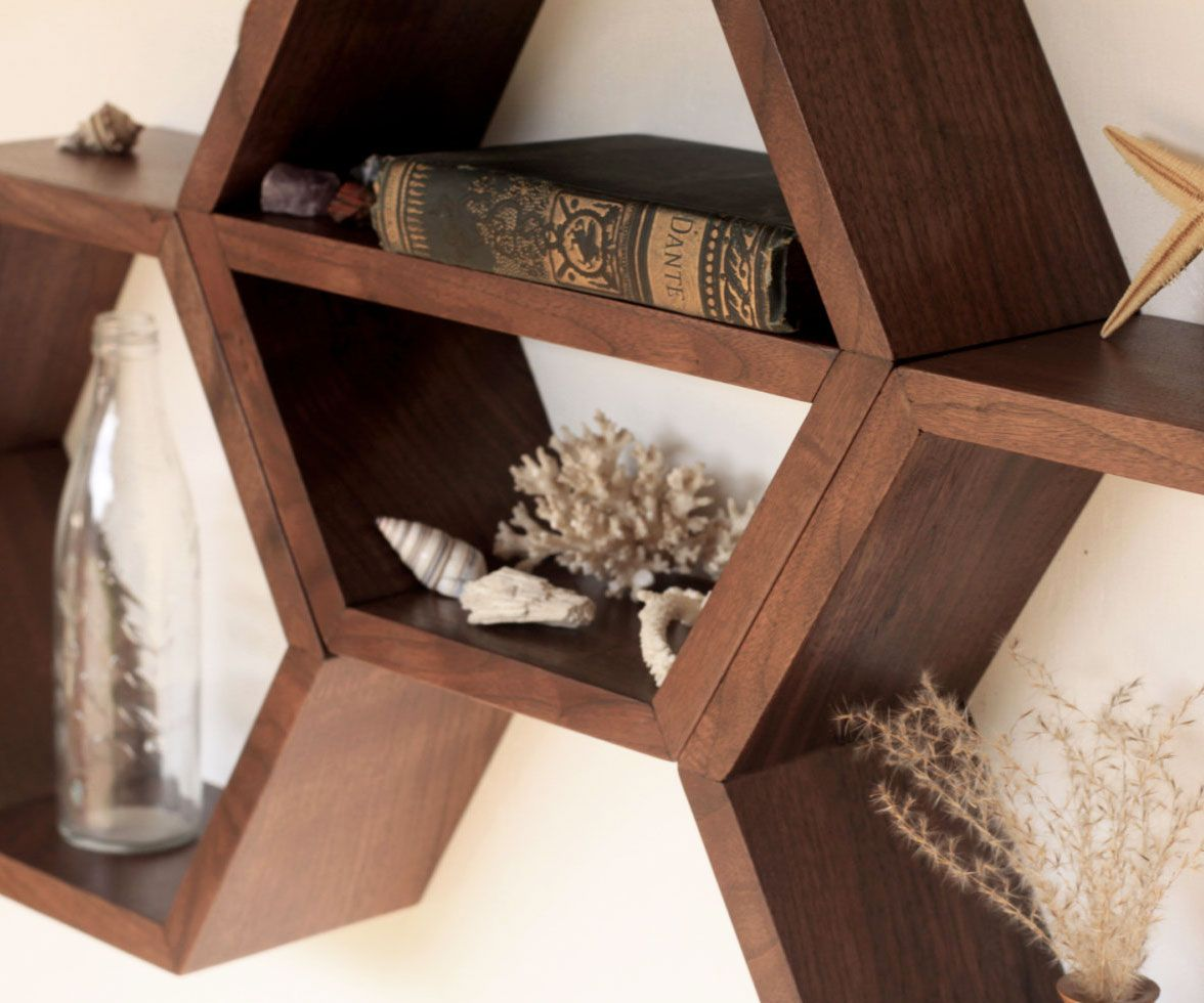 Obsie Modern Classic Geometric Limed Teak Bookcase in 2021