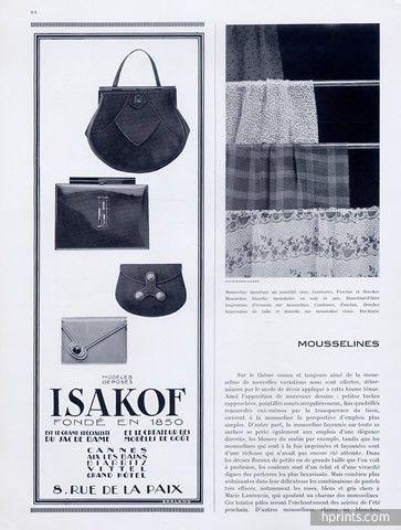 Isakof (Handbags) 1930  8 rue de la Paix, Paris