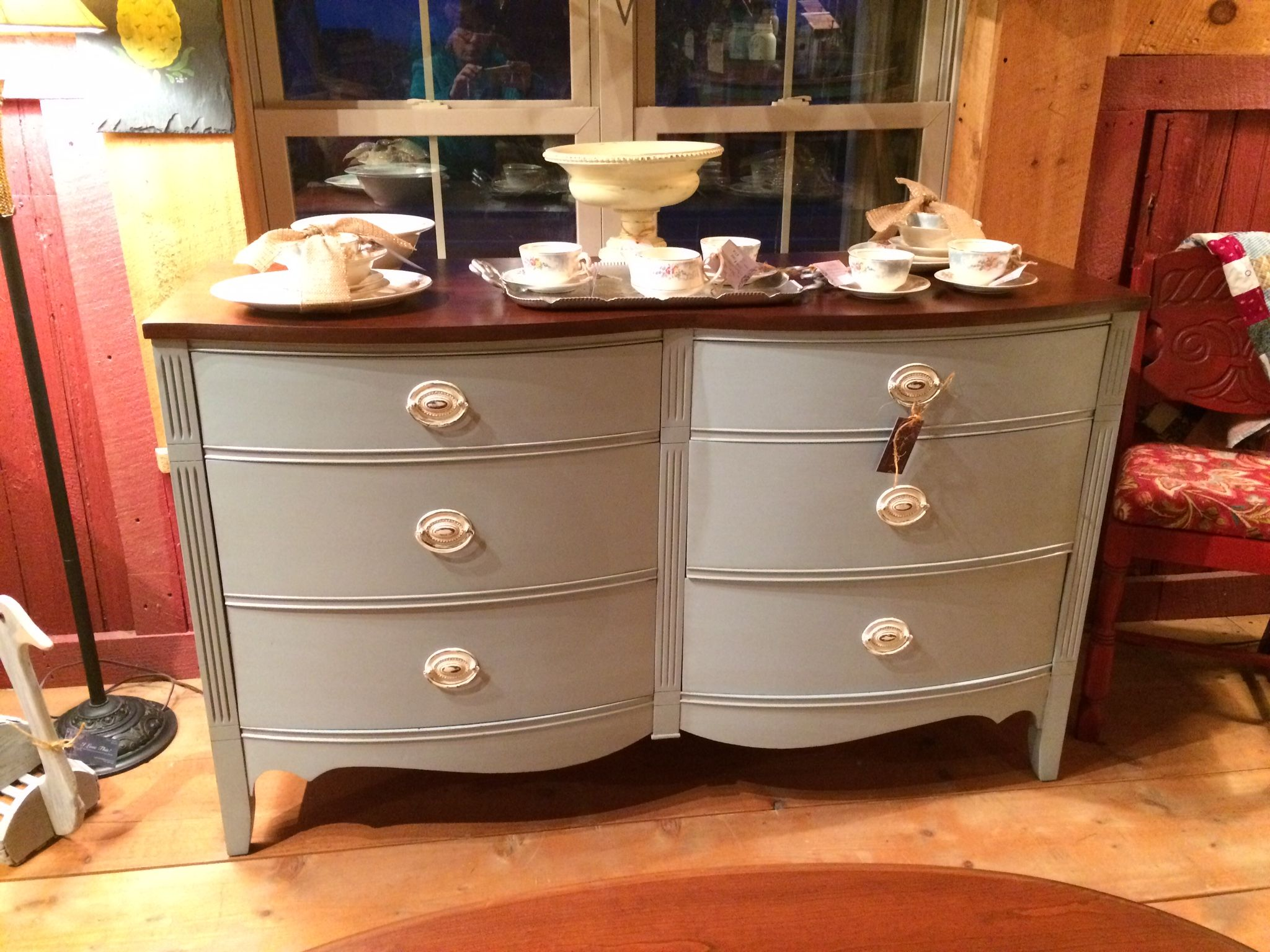 Dresser painted with general finishes Persian Blue milk paint The