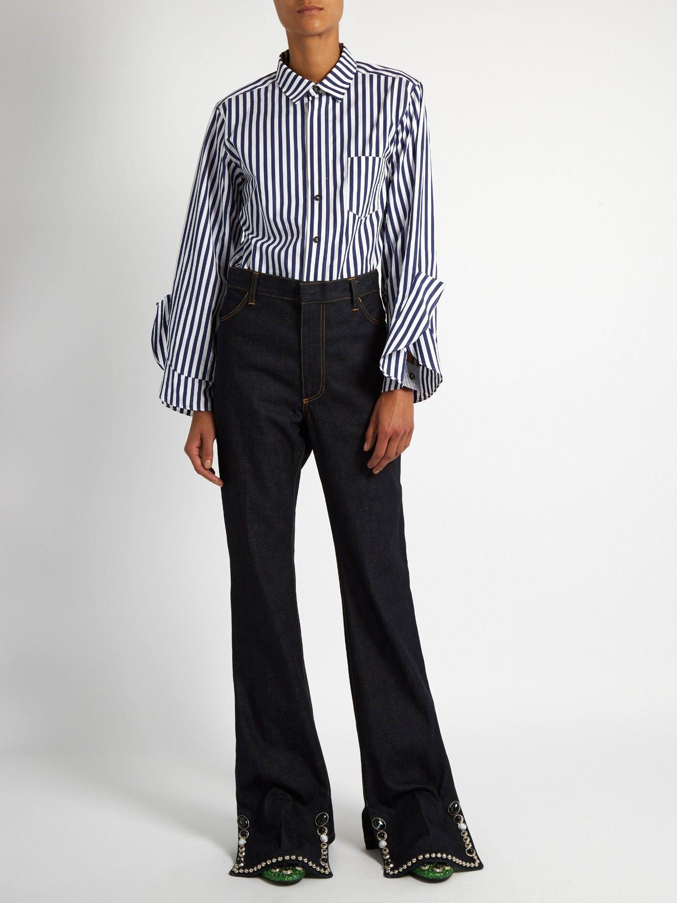 Ruffled-cuff striped cotton shirt | Toga | MATCHESFASHION.COM US