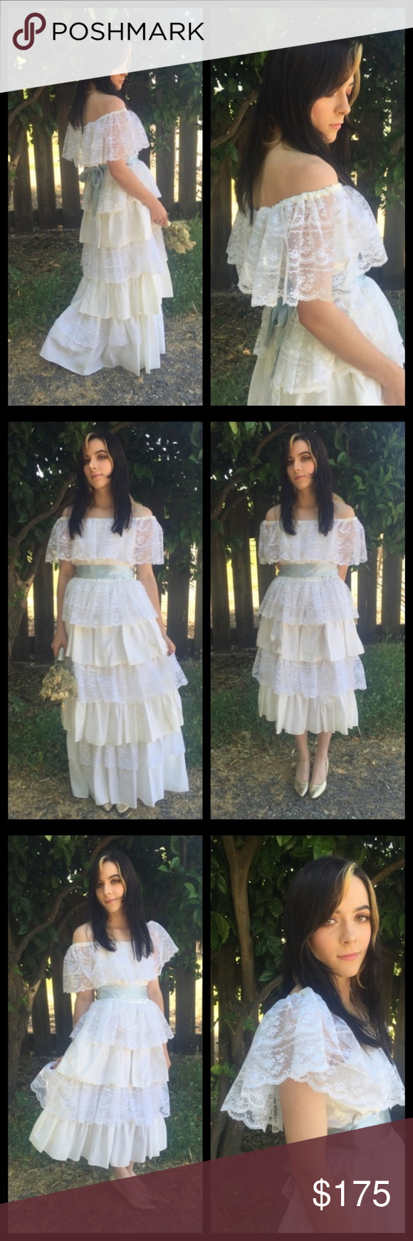 Amazing vtg s boho tiered lace wedding dress vintage dress