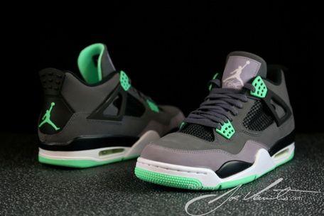 lowest price 7084f 4fbf9 Cheap Air Jordan IV Dark Grey Green Glow Cement Grey Black 308497 033 On  sale