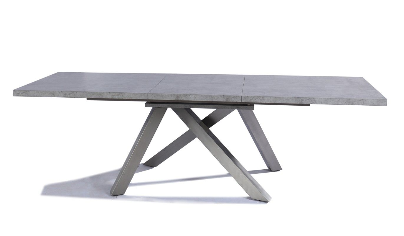 modrest orson contemporary grey extendable dining table  - modrest orson contemporary grey extendable dining table