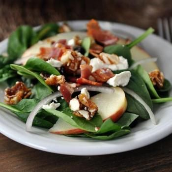 Spinach Salad with Sweet-Spicy Nuts, Apples, Feta and Bacon Recipe