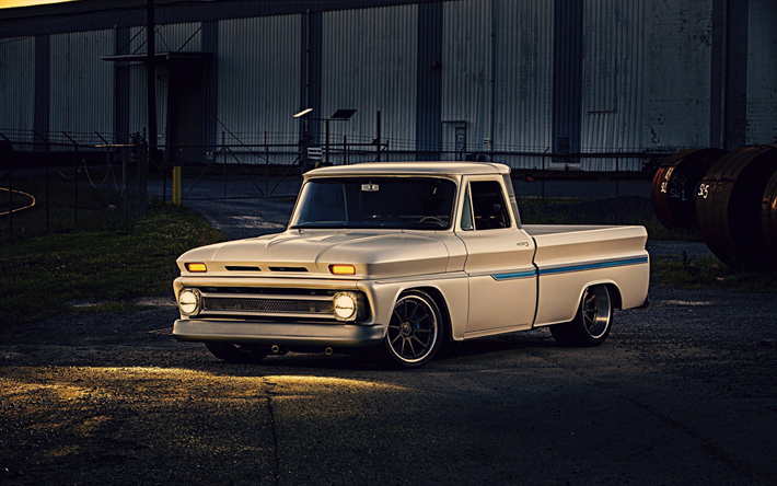 Download wallpapers Chevrolet C10, 1968, american classic cars, retro cars, pickup truck, american cars, Chevrolet besthqwallpapers.com
