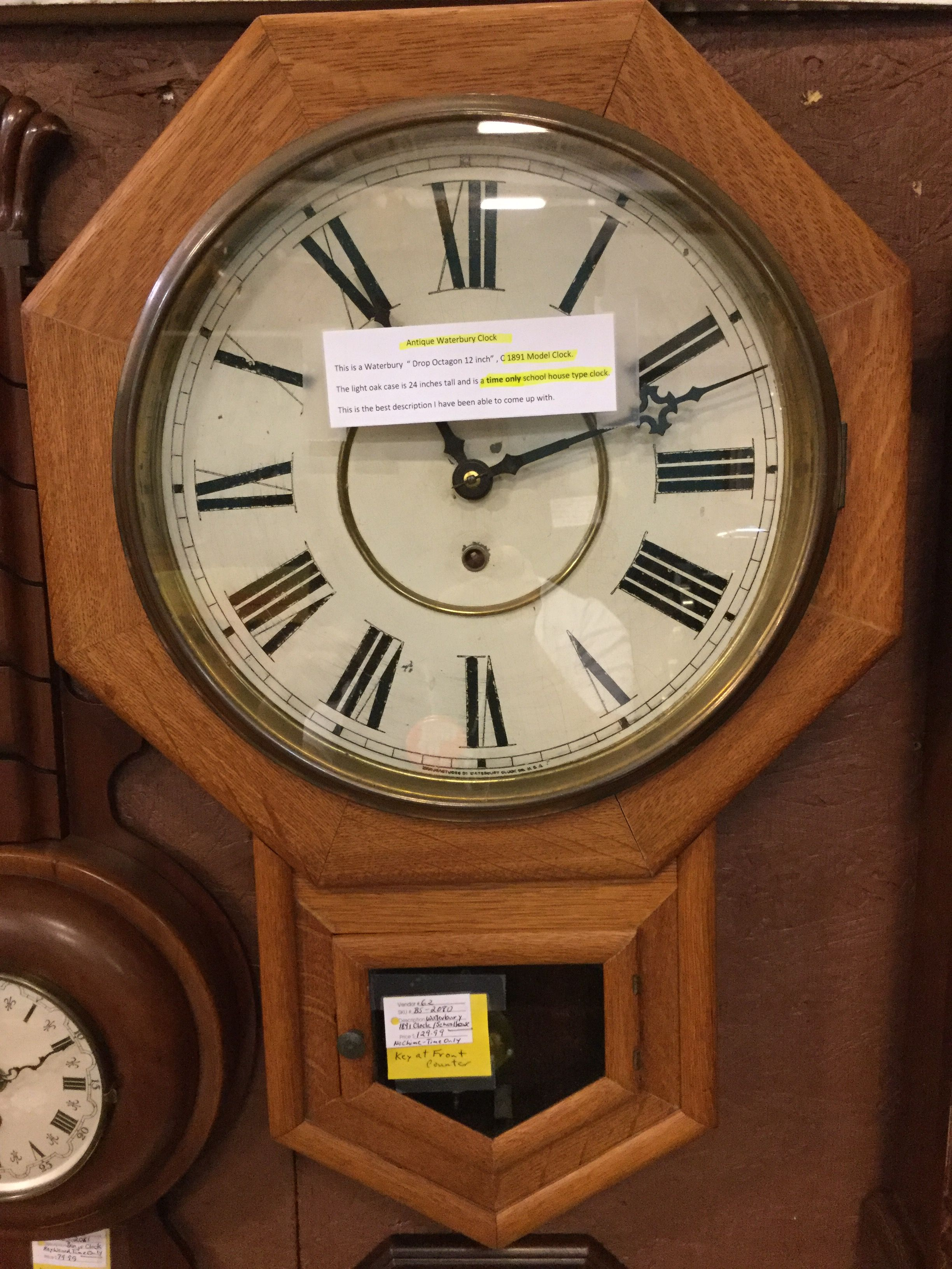 This is an 1870s waterbury drop octagon wall clock it would this is an 1870s waterbury drop octagon wall clock it would commonly be found on business office walls rather than a schoolhouse because it chime aloadofball Choice Image