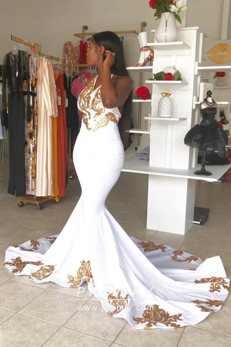 Gold Sequin Appliqued White Spandex Long Prom Dress Prom Dresses Uk Long Prom Gowns Cheap Prom Dresses [ 1200 x 800 Pixel ]