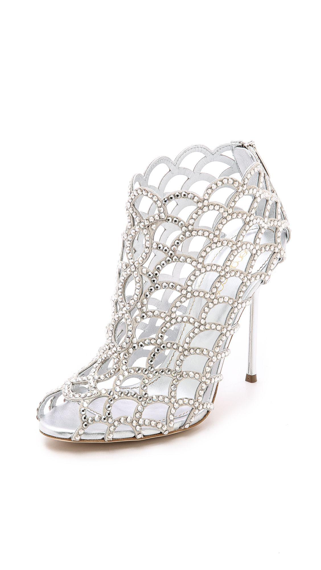 413d613441c Sergio Rossi Mermaid Cage Booties. Love these swanky wedding ...