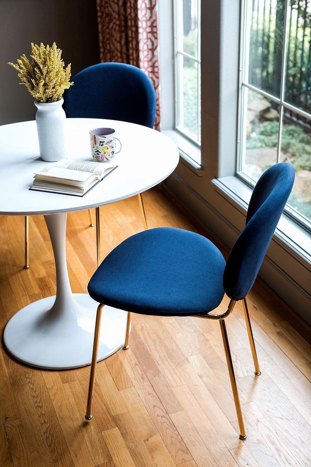 Blue velvet dining room chair elegant demi dining chair