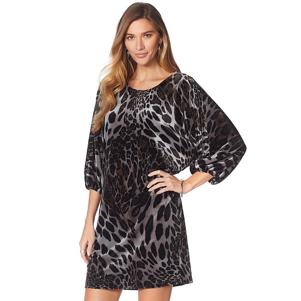 e2bd99384e N Natori Dolman-Sleeve Printed Velvet Dress - Dark Teal/Black ...