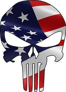 Amazon com: American Flag Punisher Skull Sticker USA