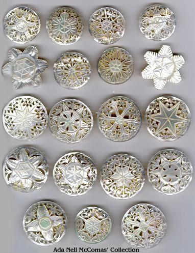 five mother-of-pearl buttons art nouveau