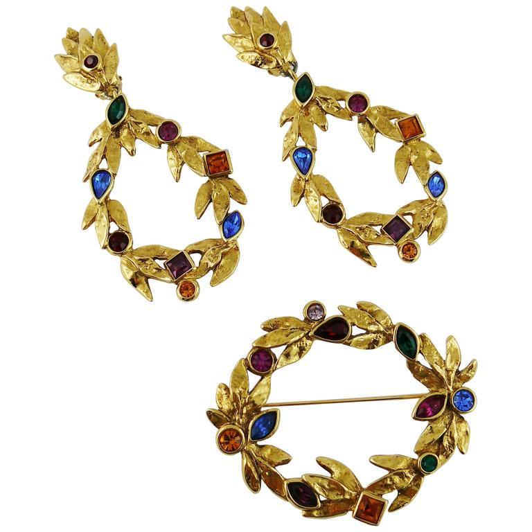 Yves Saint Laurent Vintage Bejeweled Laurel Wreath Earrings and Brooch Set 1990