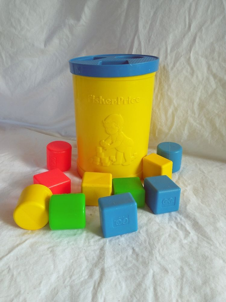 Vintage 1977 Fisher Price Blocks Shape Sorter 414 Round Canister W 10 Blocks Fisherprice Fisher Price Toys Classic Toys Vintage Fisher Price
