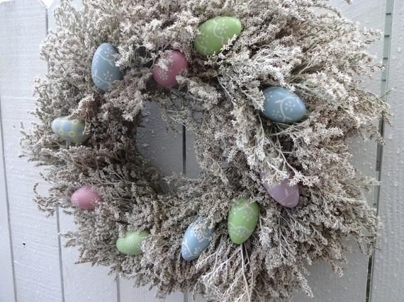 Photo of Easter Wreath Easter Egg Wreath Spring and Summer Wreath Easter Gift Dried Wreath Hand Crafted Wreath Front Door Wreath