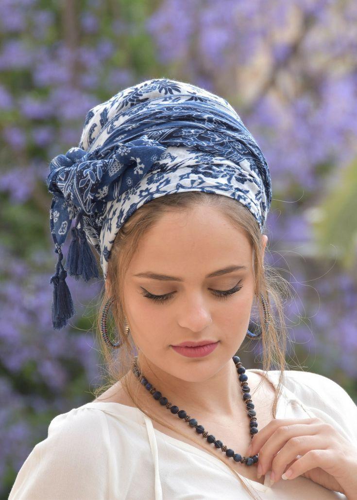Amazing Soft Blue White Headscarf TICHEL, Hair Snood, Head Scarf ...