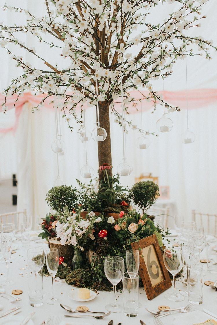 Enchanting Woodland Boho Wedding | Tree centerpieces, Blossom trees ...