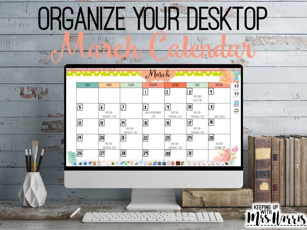March Desktop Calendar Template  Calendar March Desktop Calendar