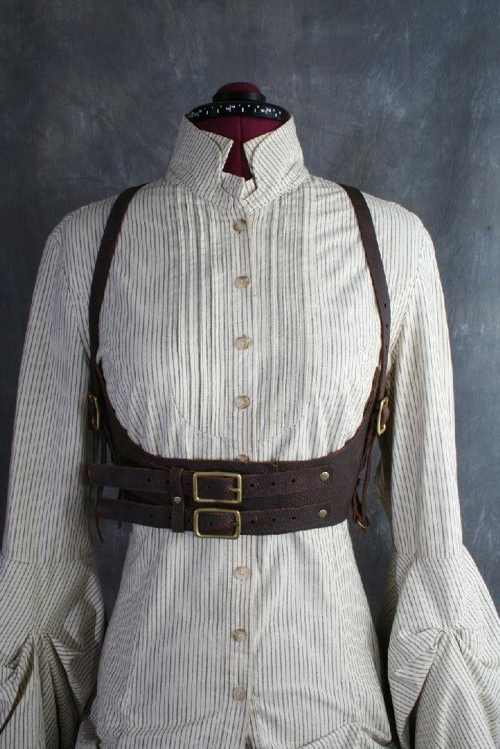 Juliet Brown Leather Underbust Harness Victorian Inspired Steampunk  Corset Belt.