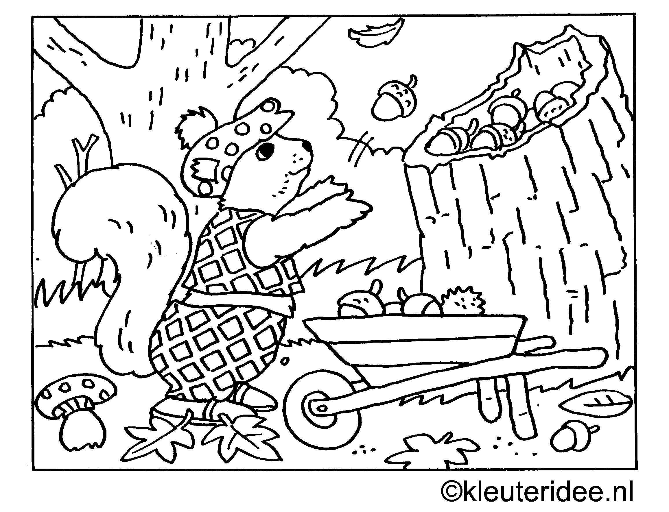 Kleuteridee Jaap Kramer Kleurplaten Herfst Herfst Knutselen