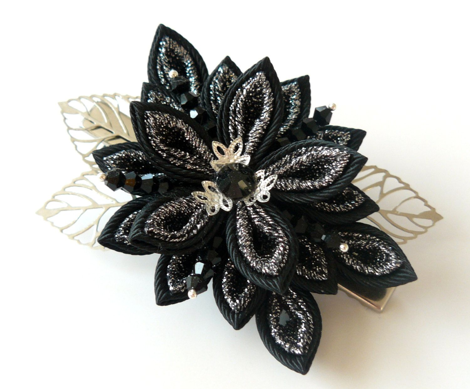 Kanzashi Fabric Flower Hair Clipblack And Silver Kanzashiblack And
