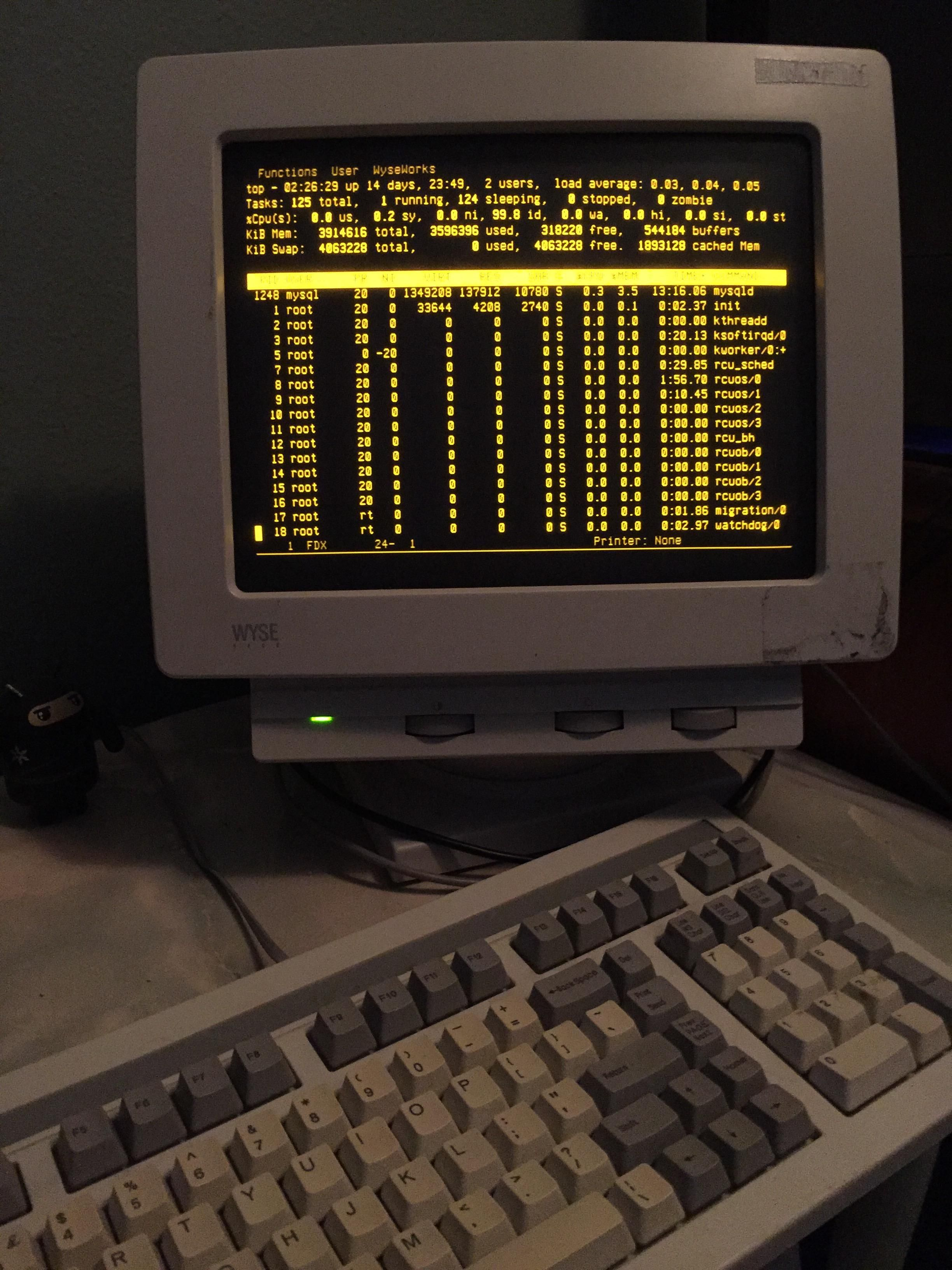 My Wyse Terminal in amber hooked up to a modern Ubuntu