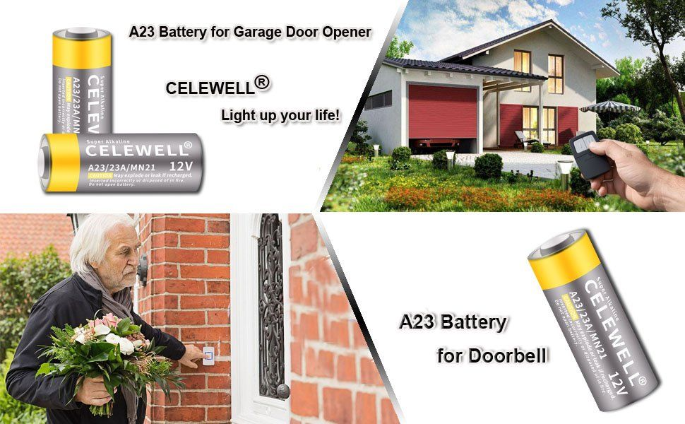 Amazon Com Garage Door Opener A23 Battery 12v Special High Capacity 55mah Same As 23a 23ae L1028 Mn21 Celewell Bra Garage Doors A23 Battery Garage Door Opener