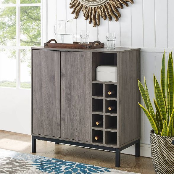 Modern Industrial Dining Bar Cabinet with Wine Storage - Saracina Home