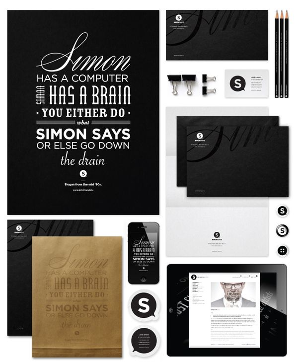 found by hedviggen ⚓️ on pinterest | ci & packaging | fonts | gfx | personalized | paper | craft | design | business card | Logo Design | branding | Brand Board | Web Design | corporate identity | brand identity | inspiration Black and White.  This is Corporate Identity Branding  (Simon Says) but a graduation party invitation in this format is fantastic.