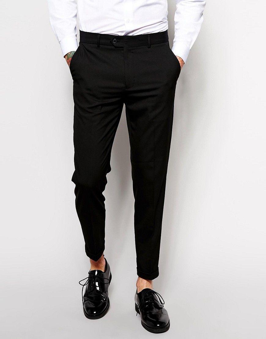 Culture Maigre Intelligente Pantalon En Satin De Coton Noir - Asos Noir 1ZSToskT0V